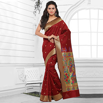 Maroon Festive Wear Cotton Silk Jacquard Saree