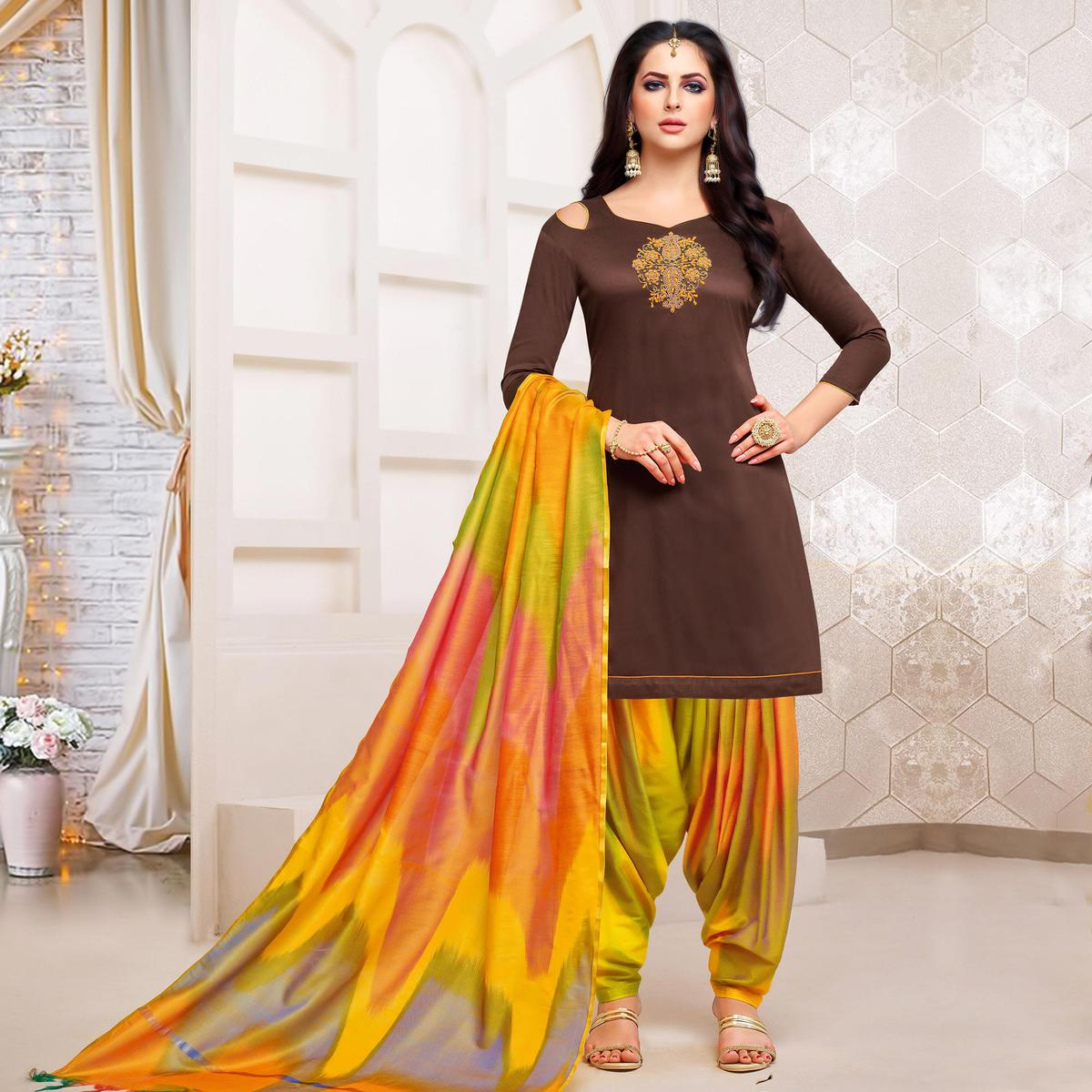 Graceful Brown Colored Party Wear Embroidered Silk Dress Material