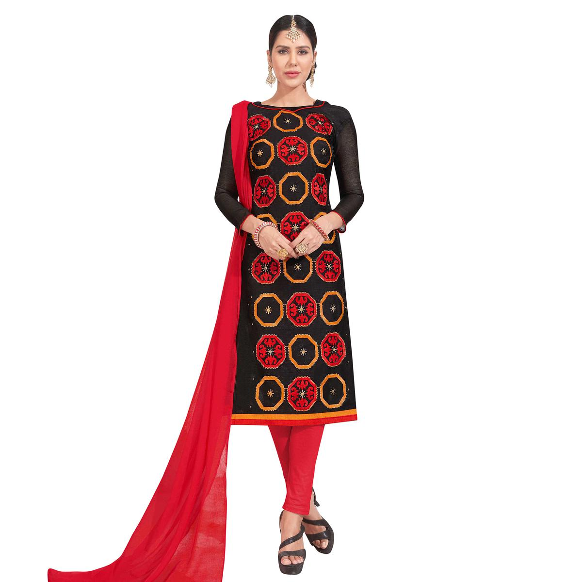Blooming Black Colored Party Wear Embroidered Chanderi Silk Dress Material