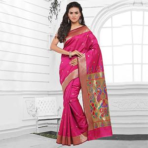 Pink Festive Wear Cotton Silk Jacquard Saree