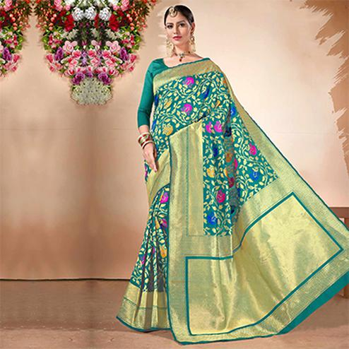 Dark Green Festive Wear Cotton Silk Jacquard Saree