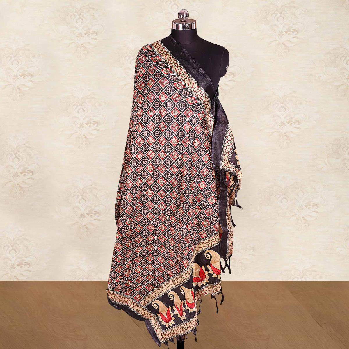 Opulent Red-Black Colored Casual Wear Printed Cotton Blend Dupatta With Tassels