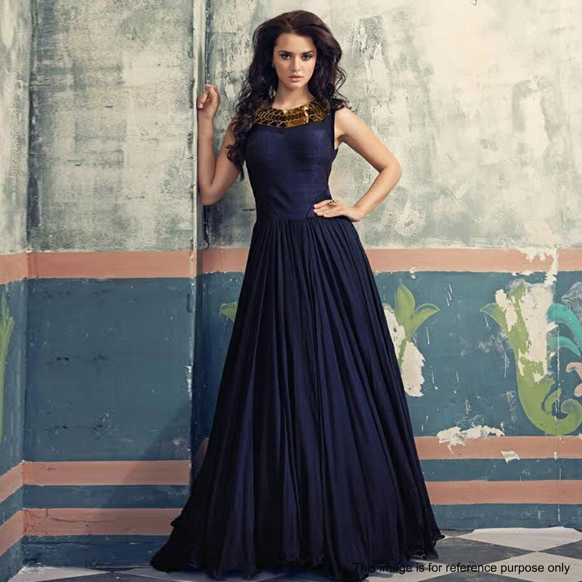Buy Navy Blue Evening Wear Gown for womens online India, Best Prices ...
