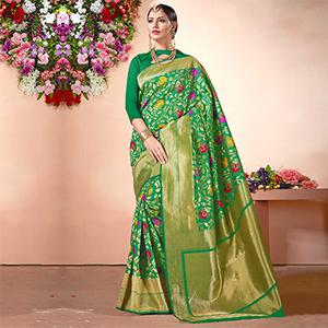 Green Festive Wear Cotton Silk Jacquard Saree