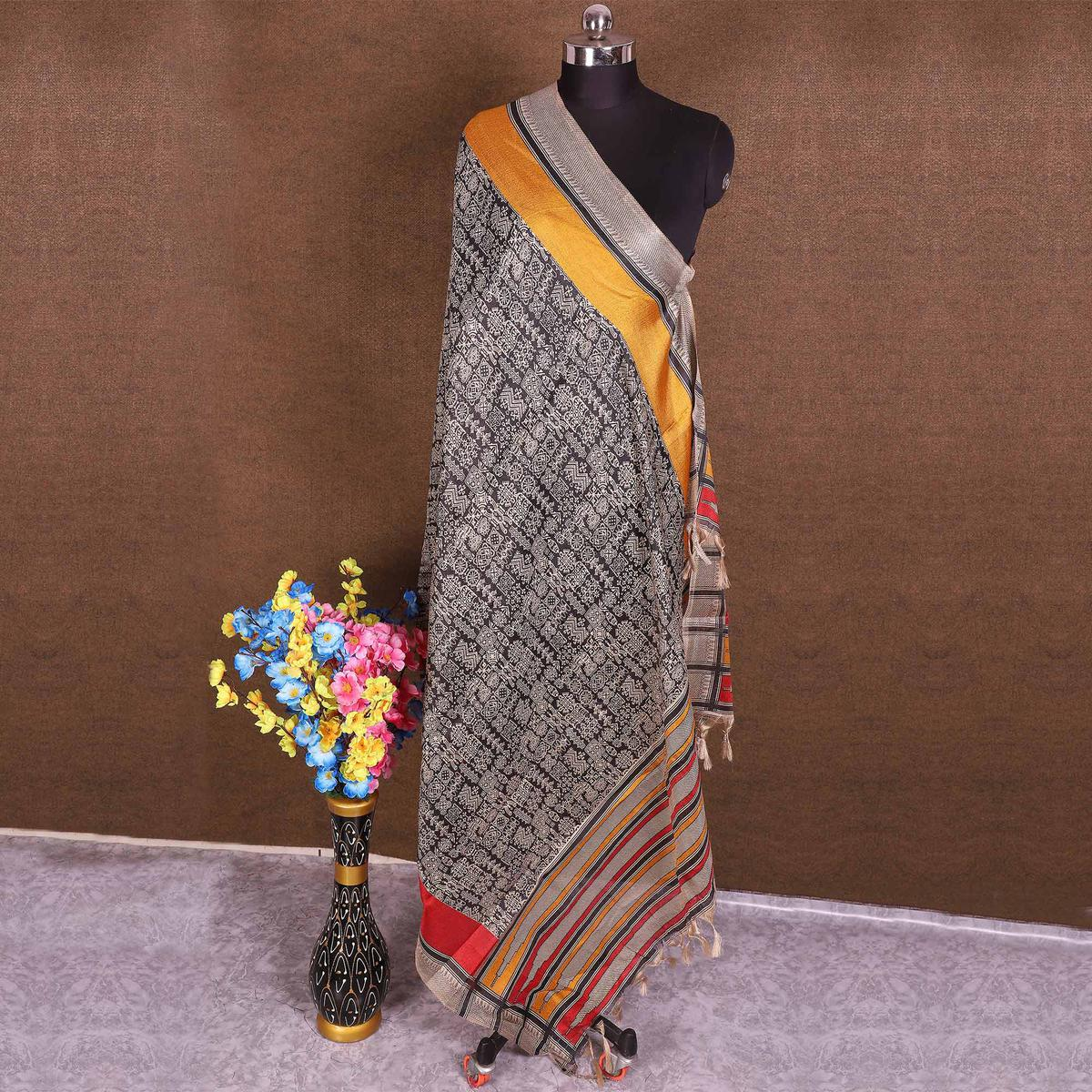 Surpassing Black Colored Casual Wear Printed Cotton Blend Dupatta With Tassels