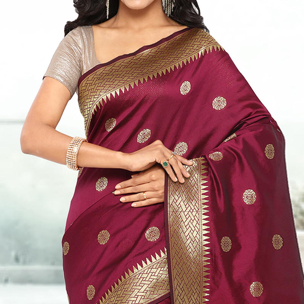 Wine Festive Wear Cotton Silk Jacquard Saree