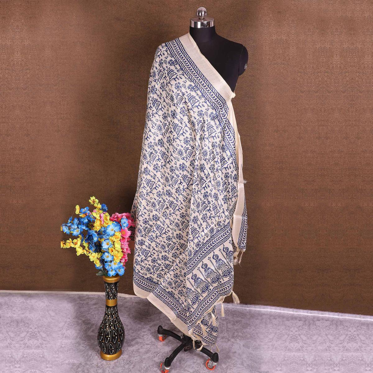 Innovative Cream-Blue Colored Casual Wear Printed Cotton Blend Dupatta With Tassels