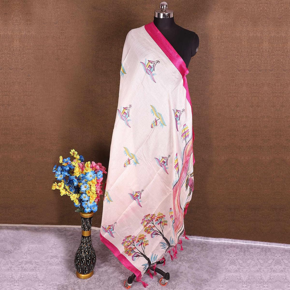 Blissful Cream-Pink Colored Casual Wear Printed Cotton Blend Dupatta With Tassels