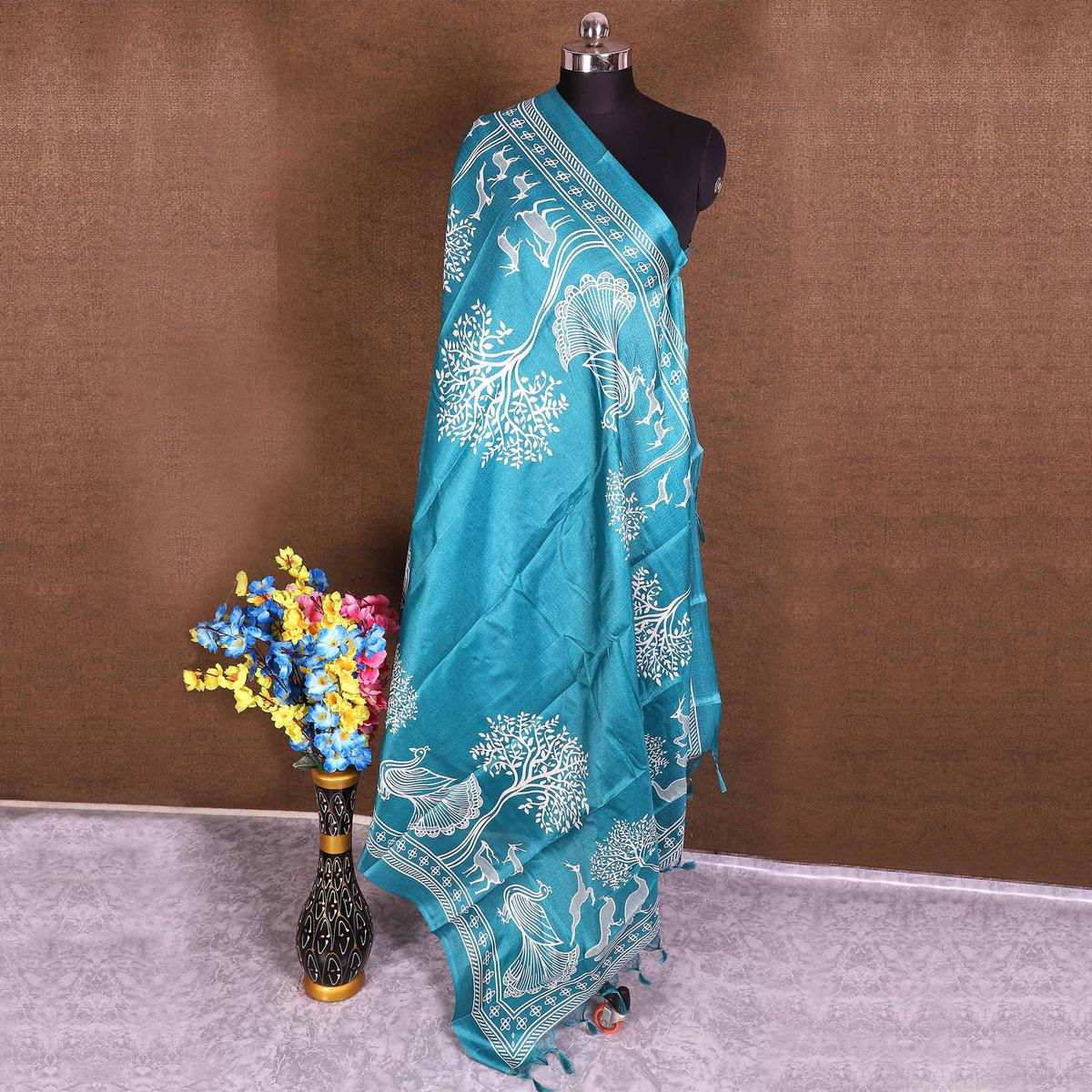 Radiant Blue Colored Casual Wear Printed Cotton Blend Dupatta With Tassels