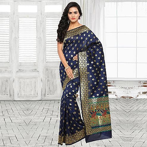 Blue Festive Wear Cotton Silk Jacquard Woven Saree
