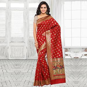 Red Festive Wear Cotton Silk Jacquard Woven Saree