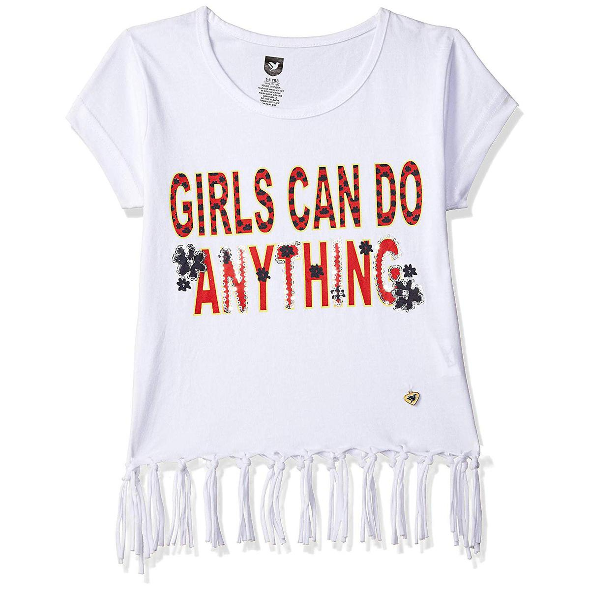 612 League - White Colored Girls Can Do Anything Knit Graphic Cotton Top For Girls