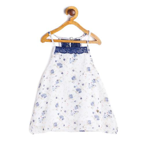 612 League - White Colored Printed With Lace Georgette Top For Girls