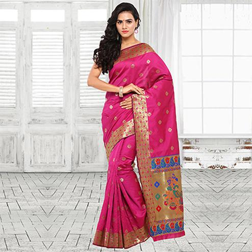 Beautiful Pink Festive Wear Cotton Silk Jacquard Woven Saree