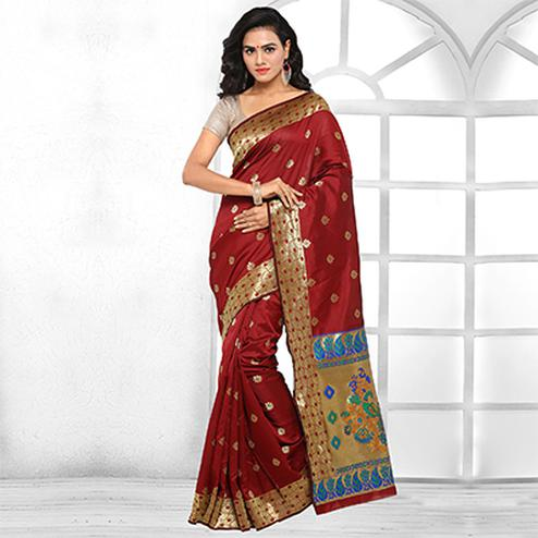 Beautiful Maroon Festive Wear Cotton Silk Jacquard Woven Saree