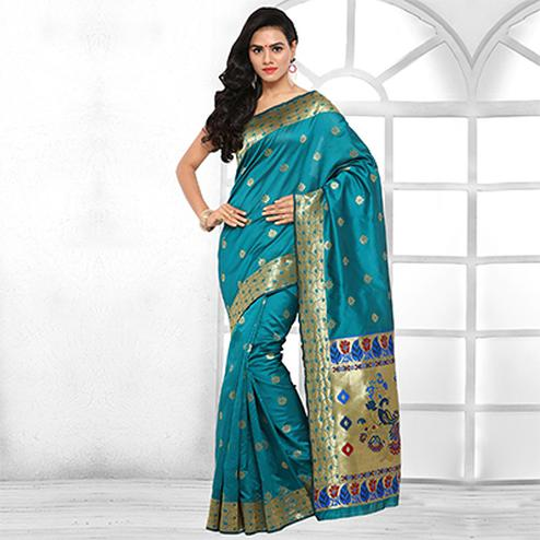 Beautiful Turquoise Blue Festive Wear Cotton Silk Jacquard Woven Saree