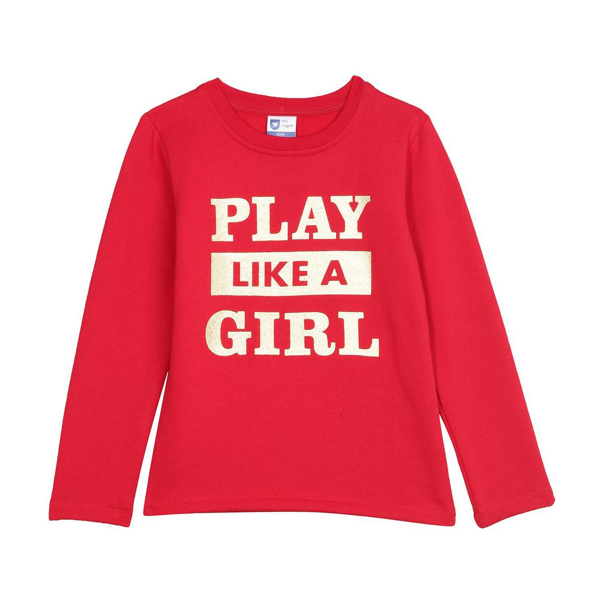 612 League - Red Colored French Terry League Knit Graphic Cotton Sweatshirt For Girls