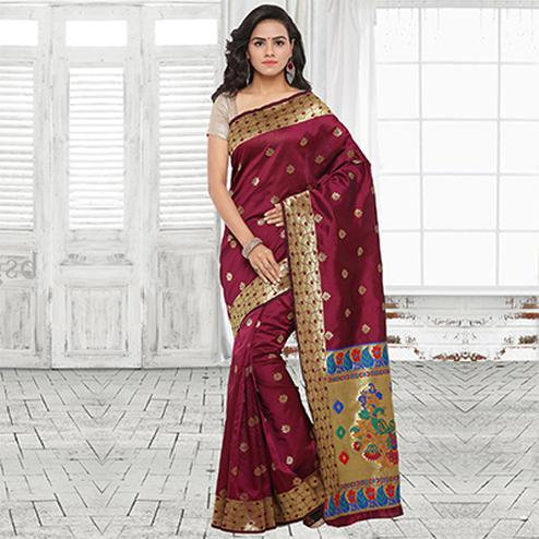 Beautiful Wine Festive Wear Cotton Silk Jacquard Woven Saree