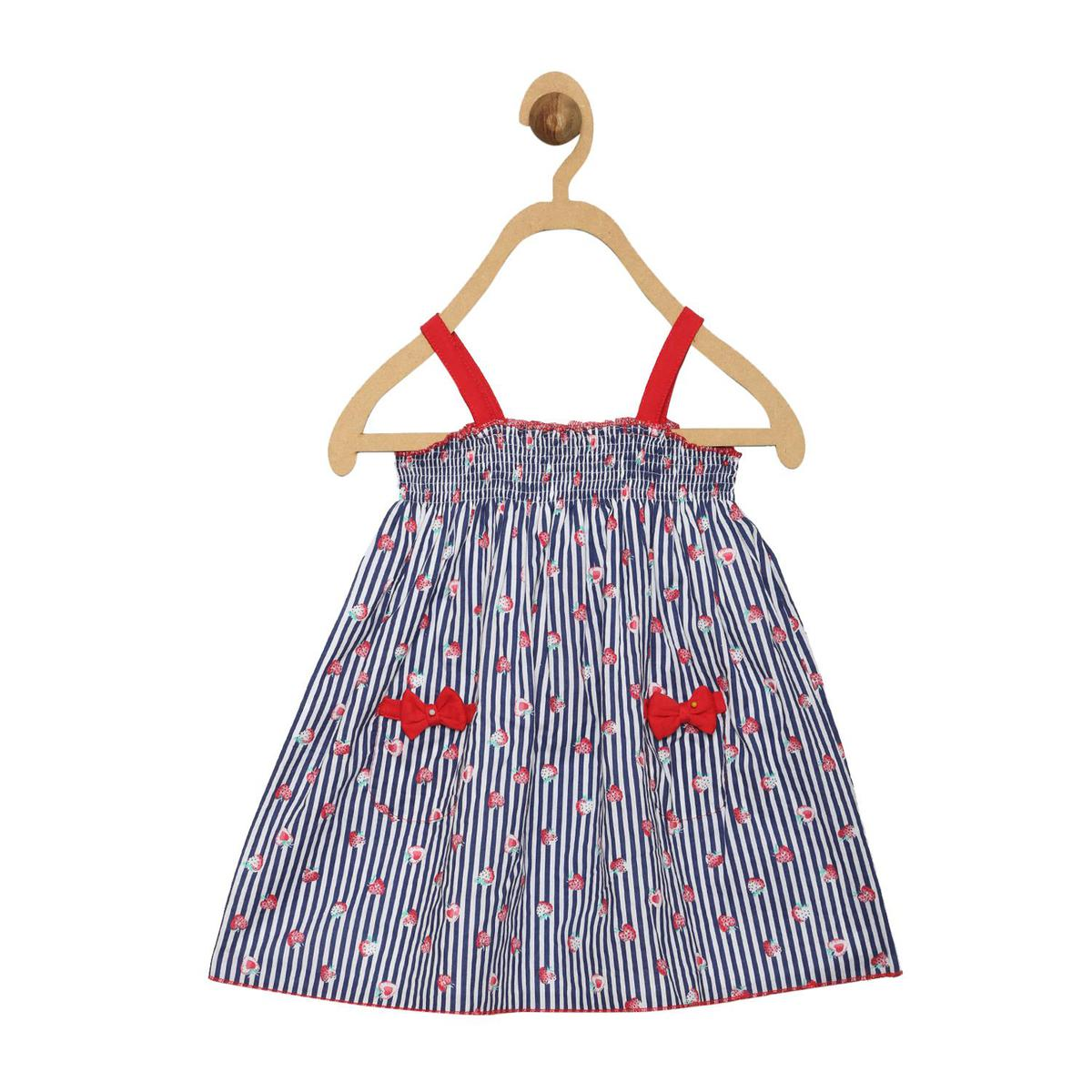 612 League - Navy Colored Casual Strawberry Print Cotton Dress For Baby Girls