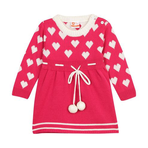 612 League - Fuschia Colored Flat Knit Heart Acrylic Sweater For Baby Girls