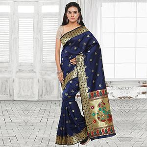 Beautiful Blue Festive Wear Cotton Silk Jacquard Woven Saree