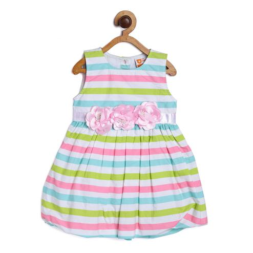 612 League - White Colored Stripe Baloon Party Dress For Baby Girls