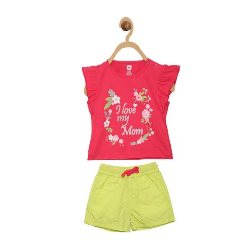 612 League - Pink-Lime Green Colored Cotton Top-Shorts Set For Baby Girls