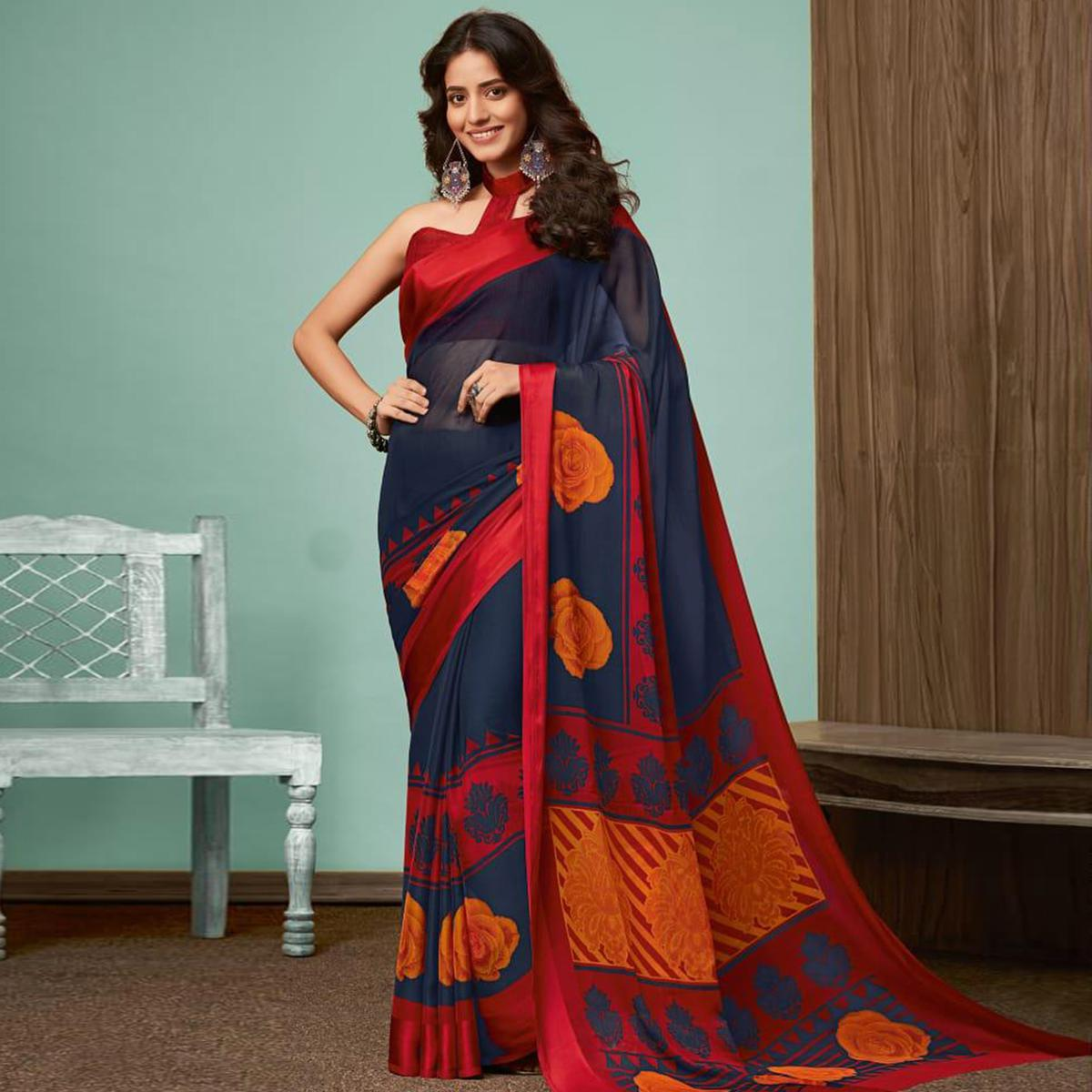 Arresting Navy Blue Colored Casual Wear Printed Chiffon Saree