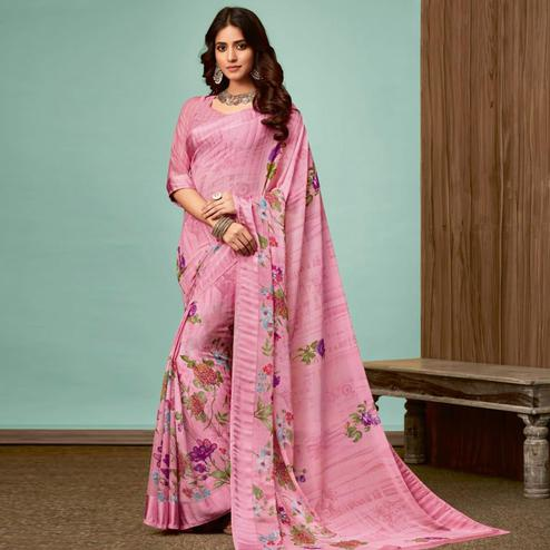 Desirable Pink Colored Casual Wear Printed Chiffon Saree