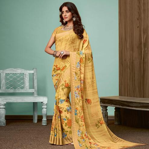 Exotic Yellow Colored Casual Wear Printed Chiffon Saree