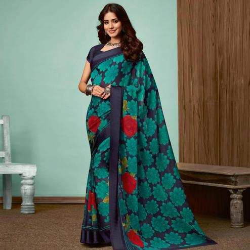Elegant Navy Blue Colored Casual Wear Printed Chiffon Saree