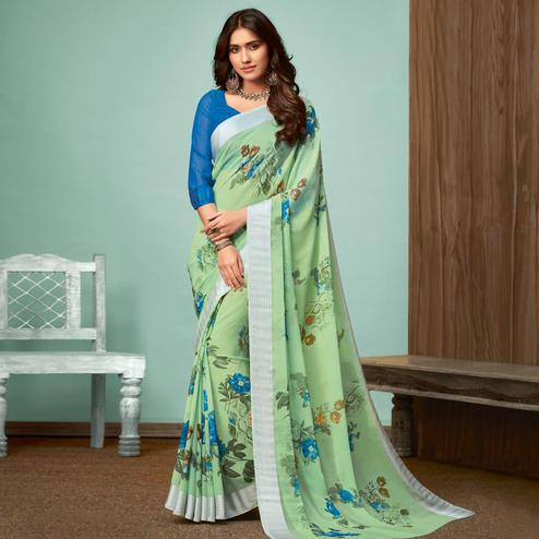 Opulent Light Green Colored Casual Wear Printed Chiffon Saree
