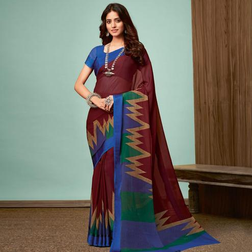 Glowing Brown Colored Casual Wear Printed Chiffon Saree