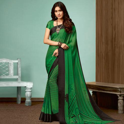 Exceptional Green Colored Casual Wear Printed Chiffon Saree