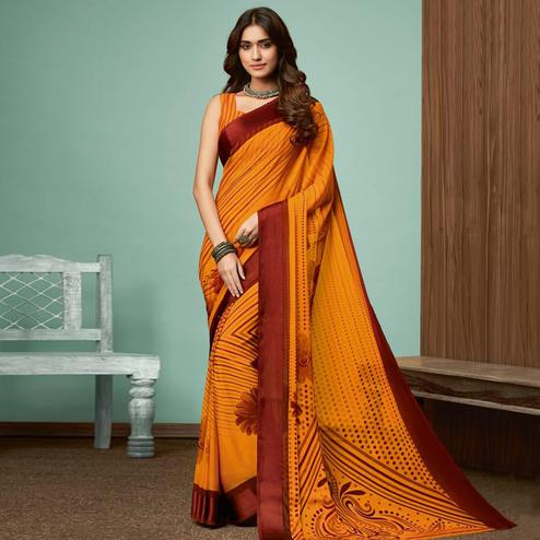 Gleaming Mustard Yellow Colored Casual Wear Printed Chiffon Saree