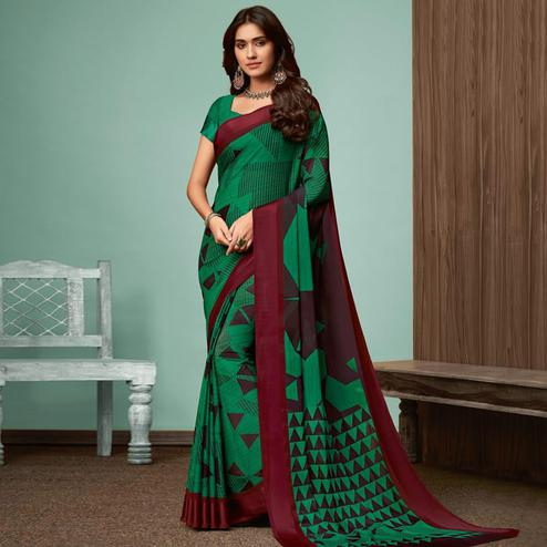 Unique Dark Green Colored Casual Wear Printed Chiffon Saree