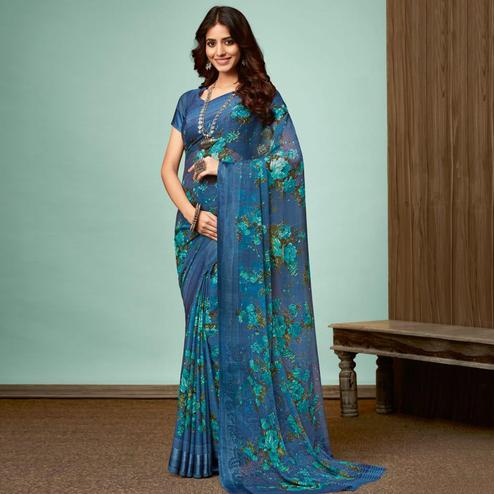 Refreshing Blue Colored Casual Wear Printed Chiffon Saree