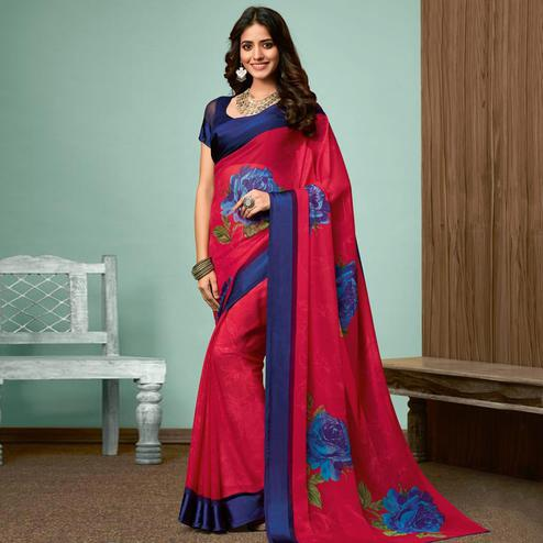 Hypnotic Pink Colored Casual Wear Printed Chiffon Saree