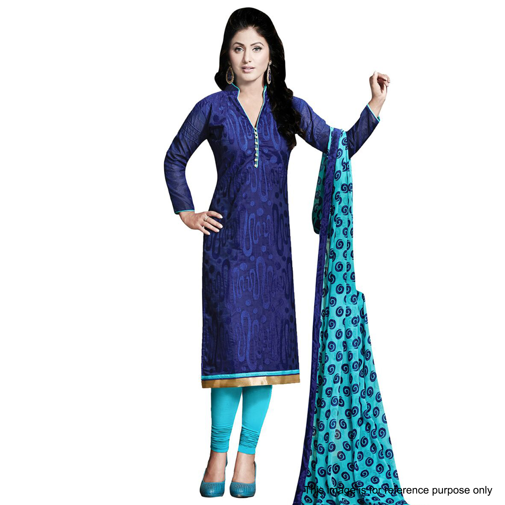 Navy Blue Chanderi Salwar Suit