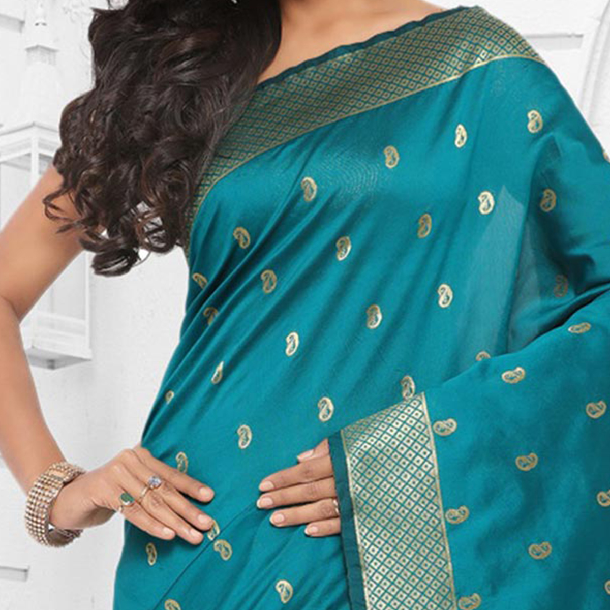 Classy Turquoise Blue Festive Wear Cotton Silk Jacquard Woven Saree