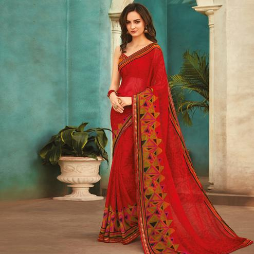 Adorable Red Colored Casual Wear Printed Chiffon Saree