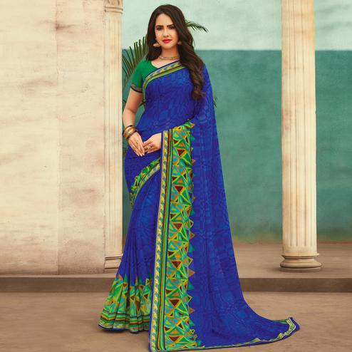 Glorious Blue Colored Casual Wear Printed Chiffon Saree