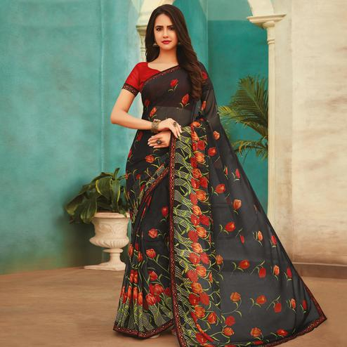 Jazzy Black Colored Casual Wear Printed Chiffon Saree