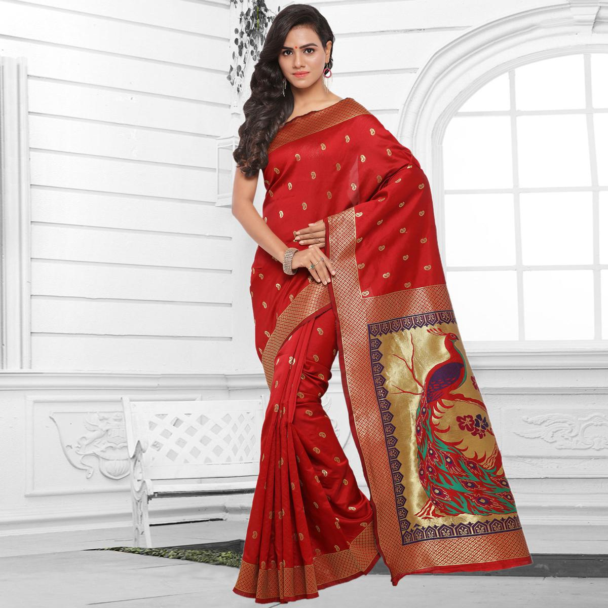 Classy Red Festive Wear Cotton Silk Jacquard Woven Saree
