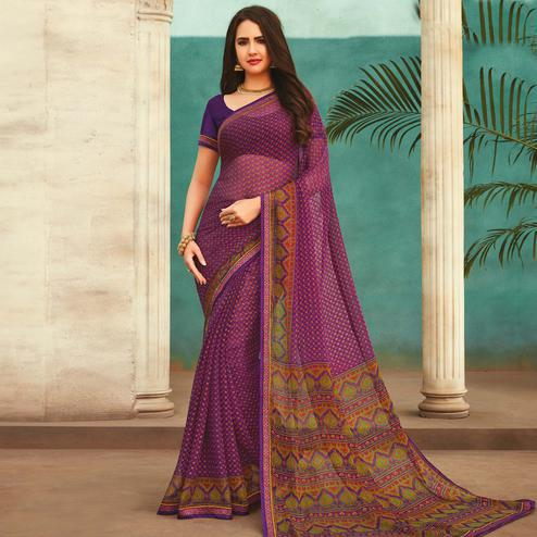 Captivating Purple Colored Casual Wear Printed Chiffon Saree