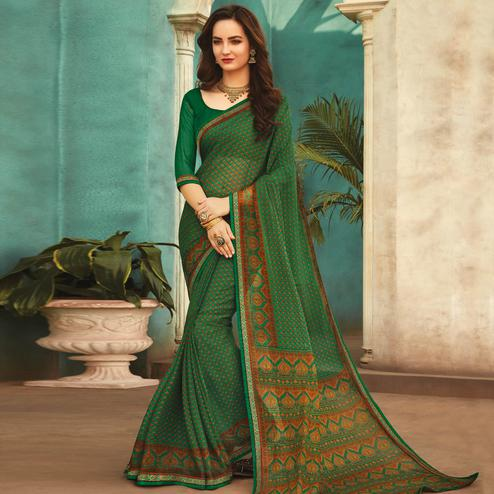 Innovative Green Colored Casual Wear Printed Chiffon Saree