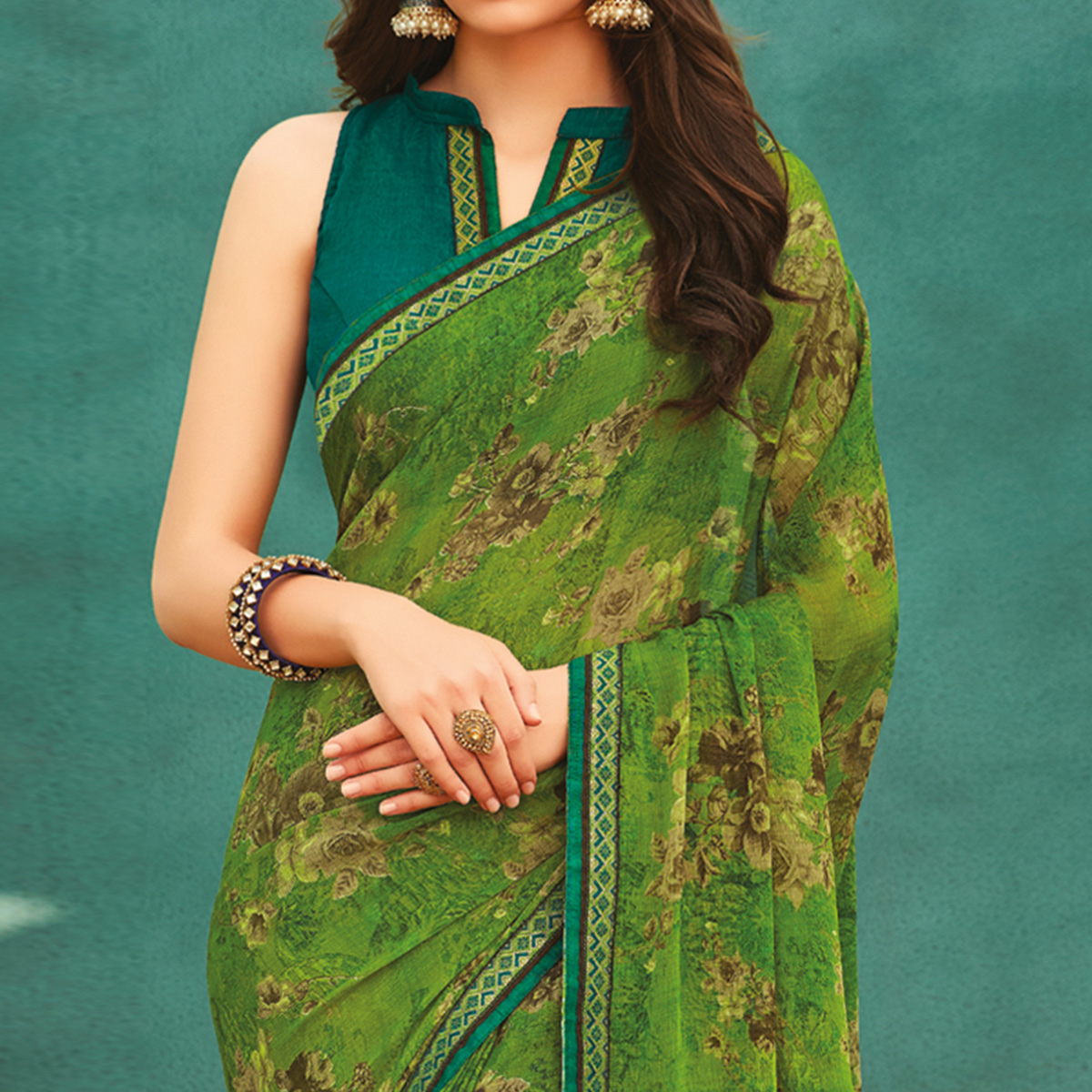Eye-catching Parrot Green Colored Casual Wear Printed Chiffon Saree