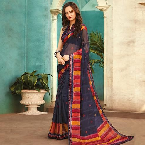 Amazing Navy Blue Colored Casual Wear Printed Chiffon Saree