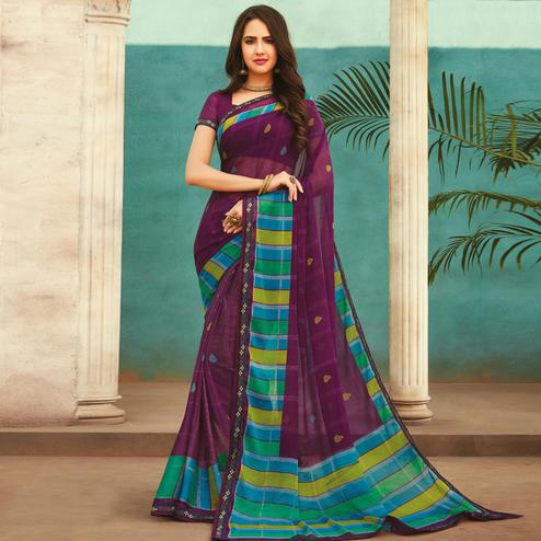 Gorgeous Purple Colored Casual Wear Printed Chiffon Saree