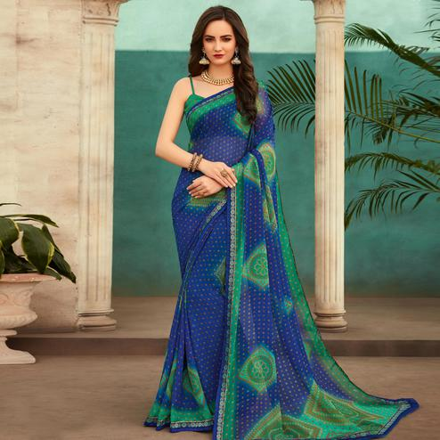 Blissful Blue Colored Casual Wear Printed Chiffon Saree